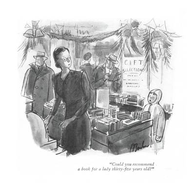 Storefront Drawing - Could You Recommend A Book For A Lady Thirty-?ve by Perry Barlow