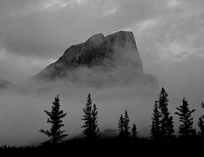 Photograph - 1m3928-a1-clouds Surround Roche Miette Bw by Ed  Cooper Photography