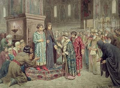 Council Calling Michael F. Romanov 1596-1645 To The Reign, 1880 Wc On Paper Art Print by Aleksei Danilovich Kivshenko