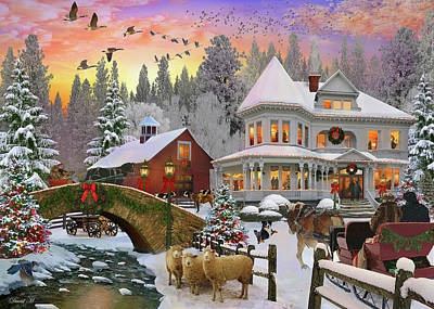 Art Print featuring the drawing Counrty Christmas by David M ( Maclean )