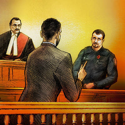 Painting - Counsel Harval Bassi Questions A Witness by Alex Tavshunsky