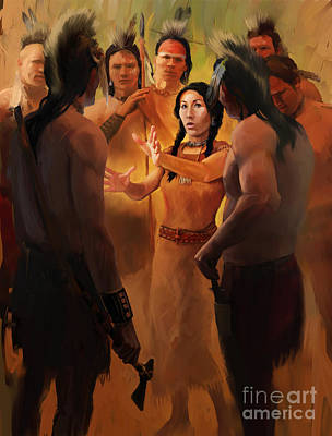 Indian Tribal Art Painting - Counseling Warriors by Rob Corsetti