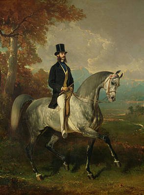 Count Alfred De Montgomery 1810-91 1850-60 Oil On Canvas Art Print by Alfred Dedreux