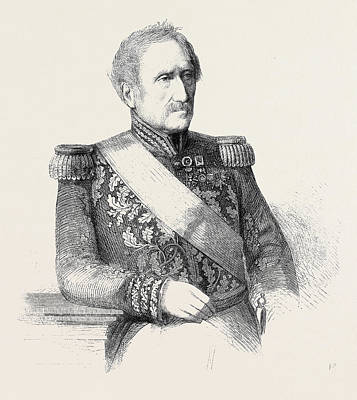 Hotel Des Invalides Drawing - Count Ornano Marshal Of France From A Painting By Heuss by French School