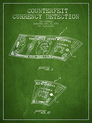 Counterfeit Currency Detection Patent From 1991 - Green Art Print by Aged Pixel