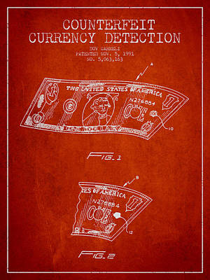 Counterfeit Currency Detection Patent From 1991 - Red Art Print by Aged Pixel