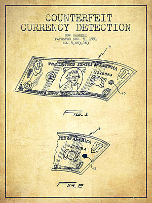 Counterfeit Currency Detection Patent From 1991 - Vintage Art Print by Aged Pixel