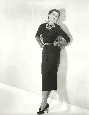 Diamond Necklace Photograph - Countess Alain De La Falaise In A Sweater Dress by Horst P. Horst