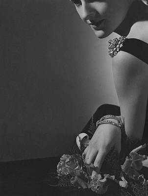 Diamond Bracelet Photograph - Countess Alain De La Falaise Wearing Cartier by Horst P. Horst
