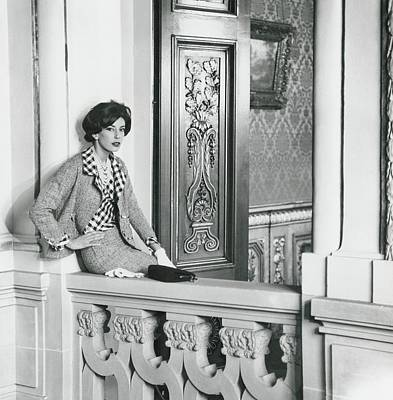 Balustrades Photograph - Countess Guy D'arcangues Wearing A Chanel Suit by Henry Clarke
