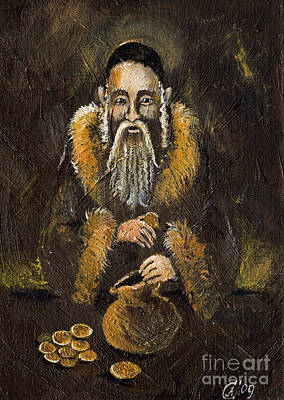 Rabbi Painting - Counting The Gold Coins by Angel  Tarantella