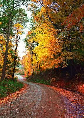 Julie Riker Dant Photograph - Country Autumn Gravel Road by Julie Dant