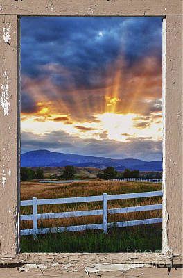 Sunrise Photograph - Country Beams Of Light Pealing Picture Window Frame Vie by James BO  Insogna