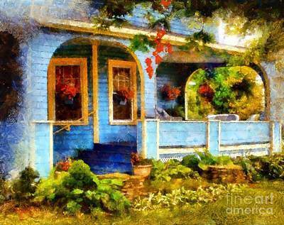 Country Blue Autumn Porch Art Print by Janine Riley