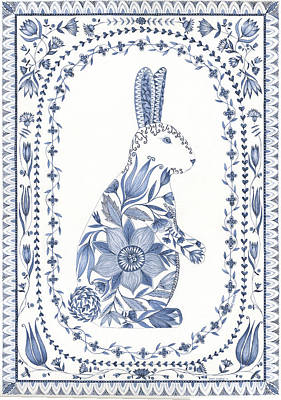 Easter Bunny Painting - Country Blues IIi by Cindy Shamp