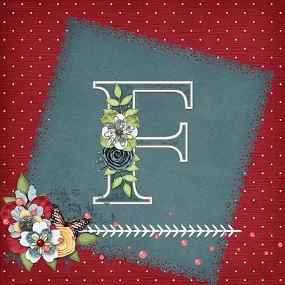 Flower Digital Art - Country Charm Monogramed F by Debra  Miller