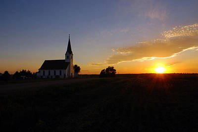 Country Church At Sunset  Art Print
