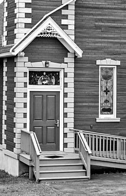 Filigree Photograph - Country Church Door Bw by Steve Harrington