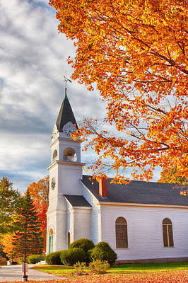 Photograph - Country Church Under Fall Colors by Jeff Folger