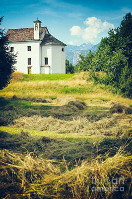 Print featuring the photograph Country Church With Hay by Silvia Ganora