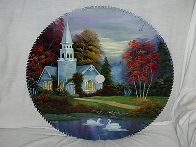 Saw Blades Painting - Country Church With Swans by Darlene Prowell