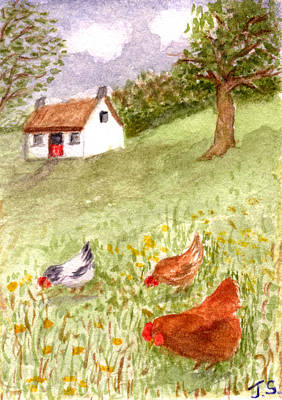 Painting - Country Cottage by Tis Art