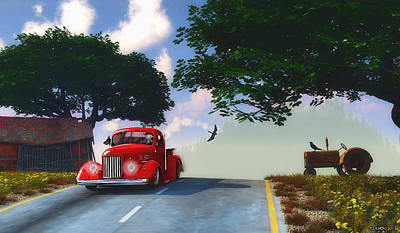 Hot Rod Mixed Media - Country Cruise by Ken Morris