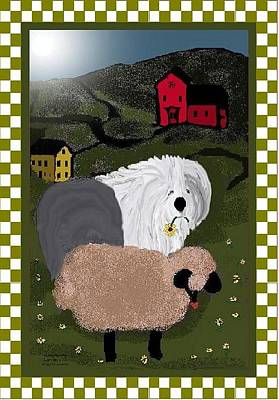 Mixed Media - Country Day Sheepdog by Cathy Howard