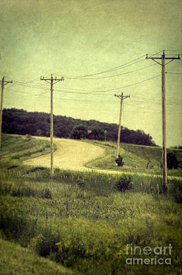 Stop Sign Photograph - Country Dirt Road And Telephone Poles by Jill Battaglia