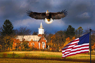 country Eagle Church Flag Patriotic Art Print by Randall Branham
