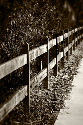 Country Fence Sepia Art Print
