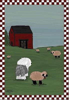 Mixed Media - Country Field Sheepdog by Cathy Howard