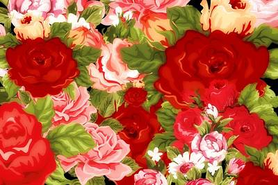 Wild Flower Heart Digital Art - Country Floral Bouquet by Chastity Hoff