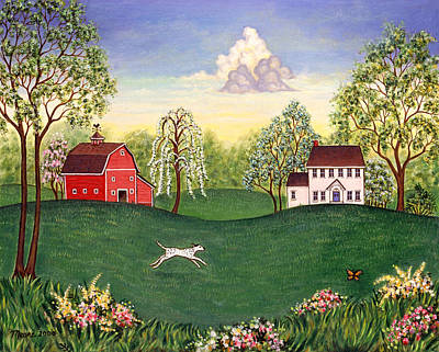 Country Frolic One Art Print by Linda Mears