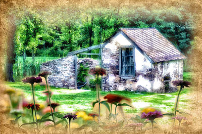 Shed Digital Art - Country Garden by Bill Cannon