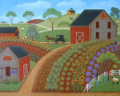 Art Quilt Painting - Country Garden by Mary Charles
