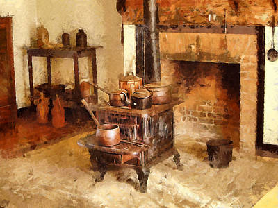 Digital Art - Country Hearth by Mary Almond