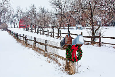 Snow Covered Photograph - Country Holiday Cheer by Teri Virbickis