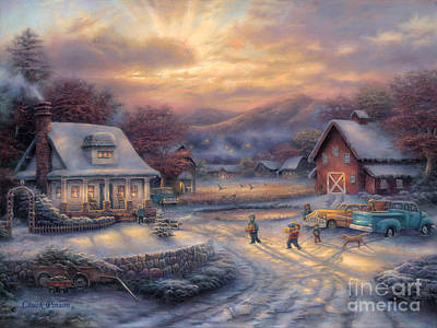 Gathering Painting - Country Holidays by Chuck Pinson