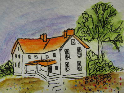 Red White And Blue Mixed Media - Country Home by Gary Braniff