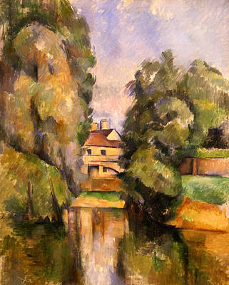 Rural House Painting - Country House By The Water, C.1888 by Paul Cezanne