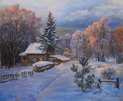 Country House In Winter Art Print