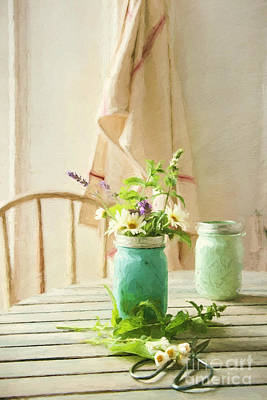 Photograph - Country Kitchen With Wild Flowers In Jar/ Digital Painting by Sandra Cunningham
