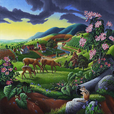 Mountain Laurel Painting - Country Landscape - Deer In The High Meadow - Square Format by Walt Curlee