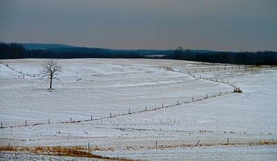 Cornfield Photograph - Country Landscape In Winter by Dan Sproul