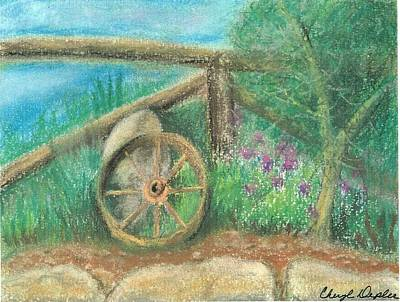 Wagon Wheels Mixed Media - Country Landscape Note Card by Cheryl Depler