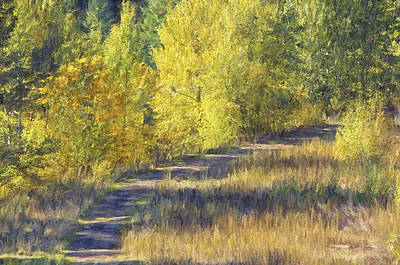Autumn Trees Mixed Media - Country Lane Digital Oil Painting by Sharon Talson