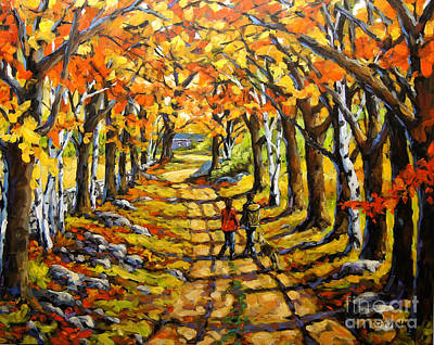 Autumn Landscape For Sale Painting - Country Lane Romance By Prankearts by Richard T Pranke