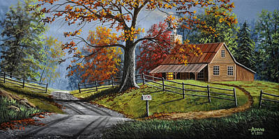 Split Rail Fence Painting - Country Life by Gary Adams