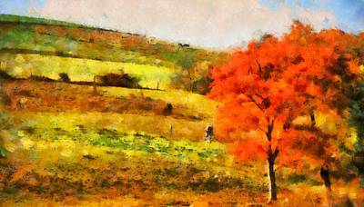 Horse In Autumn Painting - Country Living Autumn by Dan Sproul